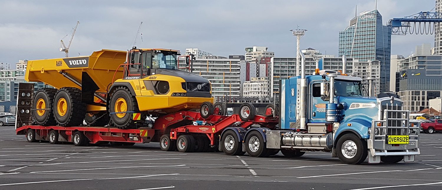 First Volvo in New Zealand transported by Satherley Transport